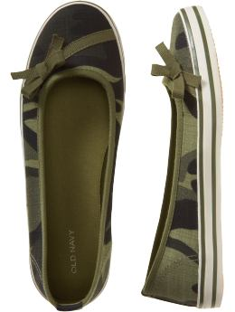 Women's Ribbon-Trim Slip-Ons: Oldnavy.com :  camo fashion military-inspired cute