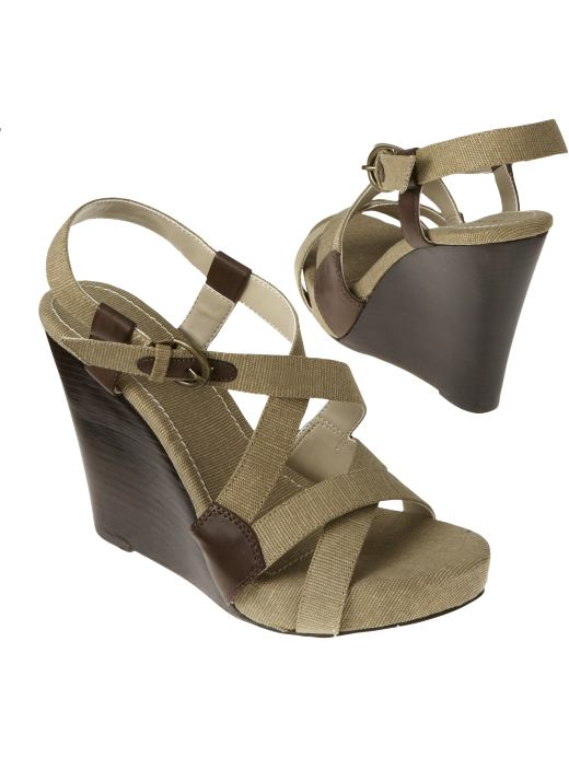 Women's Canvas Wedges: Wedges Shoes & Slippers | Old Navy :  budget strappy platforms heels