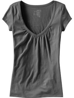 Women: Women's Ruched V-Neck Tees - Lead Pipe