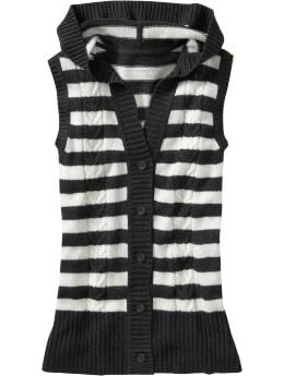 Oldnavy.com: Women: Women's Striped Hooded Sweater Vests: New Arrivals from oldnavy.com