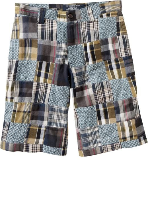 Men's Clothes: Men's Patchwork Madras Shorts (11