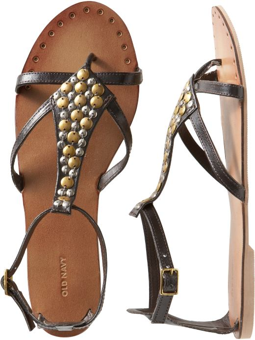 Women's Clothes: Women's Embellished Leather Sandals: New Arrivals | Old Navy :  beach sandals flats 39