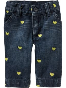 Baby Girl Clothes: Embroidered Capris for Baby: Pattern Play | Old Navy :  jeans hearts baby old navy
