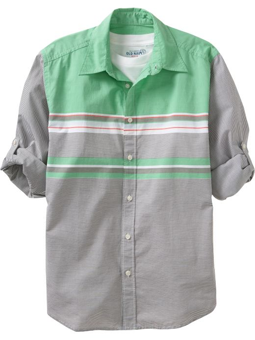 Men's Clothes: Men's Roll-Sleeve Chest-Stripe Shirts: New Arrivals | Old Navy :  button up mens shirt stripe men