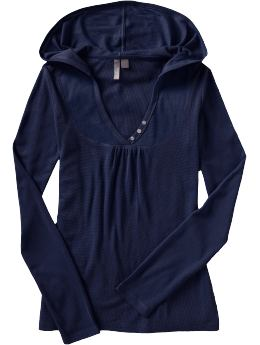 Women's Clothes: Women's Waffle-Knit Henley Hoodies: Long-Sleeve Tees & Polos | Old Navy :  thermal hood v neck splendid