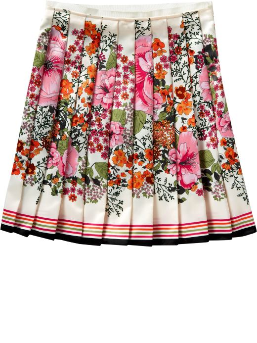 Women's Clothes: Women's Floral Satin Pleated Skirt: New Arrivals | Old Navy