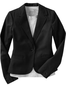 Women s Clothes Women s Cotton Twill One Button Blazers Outerwear Old Navy from oldnavy.com