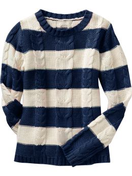 Women: Women's Rugby-Stripe Cable-Knit Sweaters - Dark Sea Blue