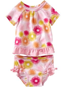 Baby Girls: Floral Rashguard Swim Sets for Baby - Pink Print