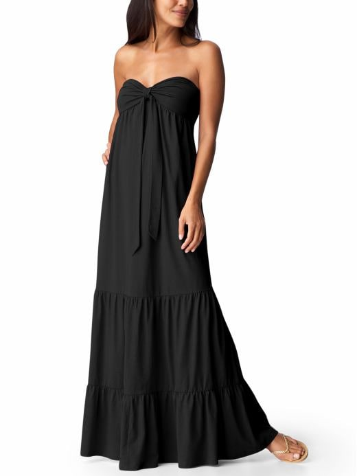 Women's Clothes: Women's Tiered Maxi Tube Dresses: Black & White Top Trends | Old Navy :  spring tiers strapless clothing