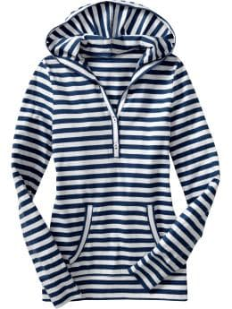 Women: Women's Hooded Henleys - Navy Stripe