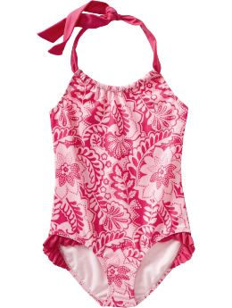 Girls: Girls Printed Ruffle-Trim Swimsuits - Pink Floral