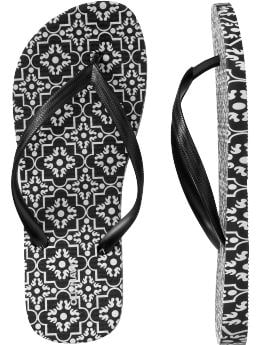 Women's Clothes: Women's Black & White Printed Flip-Flops: Black & White Top Trends | Old Navy :  rounded toe casual black and white white