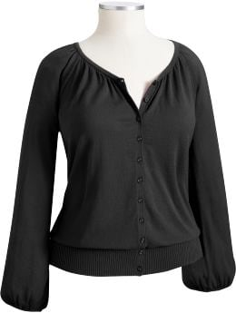 Women's Plus: Women's Plus Scoop-Neck Cardigans - Black Jack