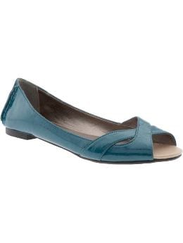 Women's Clothes: Women's Faux-Leather Peep-Toe Flats: Accessories New Arrivals | Old Navy