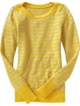 Women: Women's Button-Shoulder Sweaters - Yellow Stripe