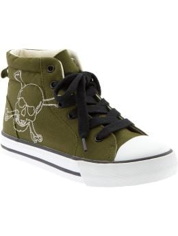 Boys: Boys Embroidered-Graphic High-Tops - Green Skull