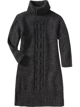 Women: Women's Marled Turtleneck Sweater Dresses - Black Marl