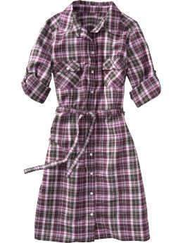 Old Navy: Plaid Belted Shirt Dress