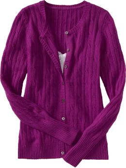 Women: Women's Softest Cable-Knit Cardigans - Bougainvillea Pink