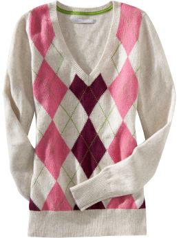 Women's Clothes: Women's Patterned V-Neck Sweaters: Long-Sleeve Sweaters | Old Navy