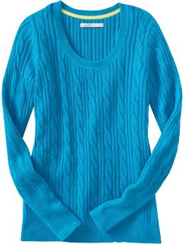 Women: Women's Scoop-Neck Cable-Knit Sweaters - Tahiti Lagoon