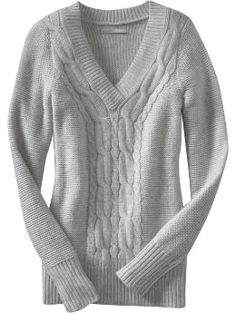 Women's Clothes: Women's Cable-Knit V-Neck Sweaters: Long-Sleeve Sweaters | Old Navy