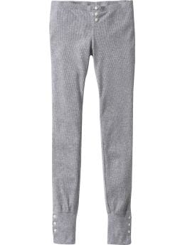 Women's Clothes: Women's Waffle-Knit Button-Trim Leggings: PJ Pants & Shorts Sleepwear | Old Navy
