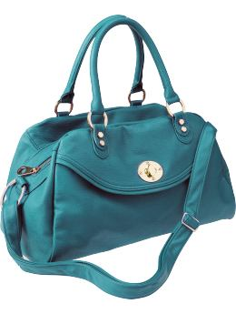 Women: Women's Faux-Leather Satchels - Teal Tide