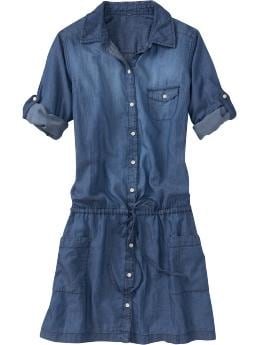 Women's Clothes: Women's Chambray Drop-Waist Shirt Dresses: Apparel New Arrivals | Old Navy