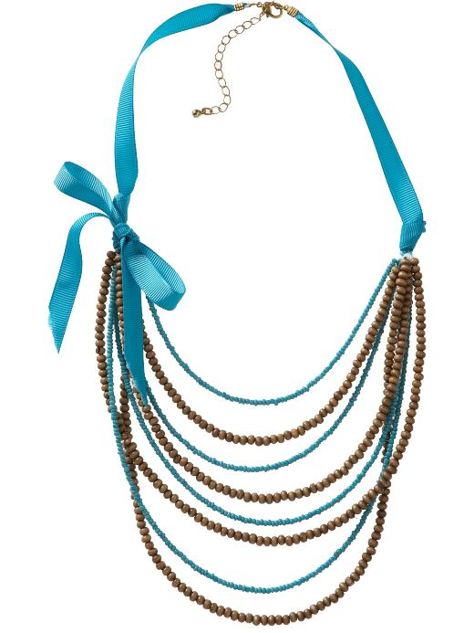 Old Navy Womens Beaded Ribbon-Chain Necklace