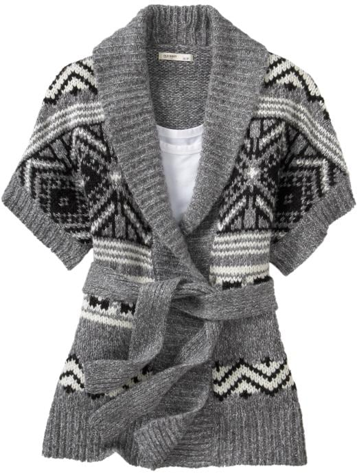 Old Navy Womens Fair Isle Tie-Belt Wrap Cardigans