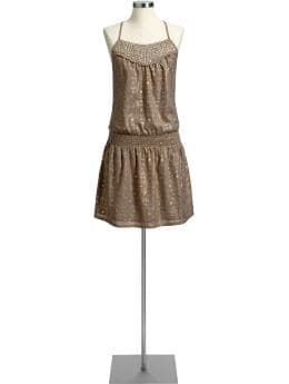 Women's Embellished Drop-Waist Dresses | Old Navy :  a line brown summer metallic