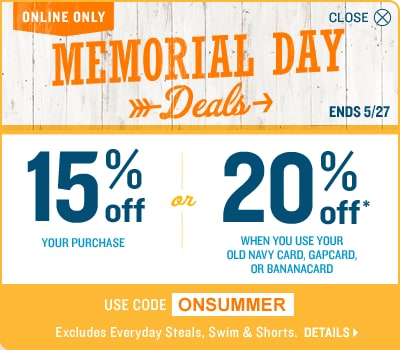 Save 15% or 20% with ONSUMMER