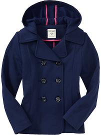 Girls Hooded Jersey Peacoats