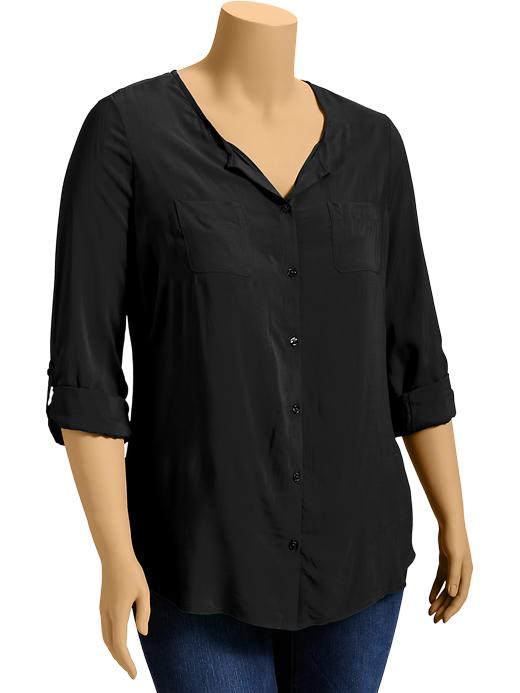 Old Navy Womens Plus Roll Sleeve Crepe Blouses