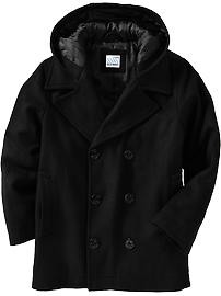 Boys Wool-Blend Hooded Pea Coats