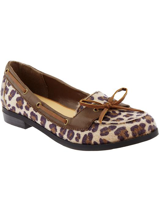 Old Navy Womens Faux Fur Animal Print Loafers