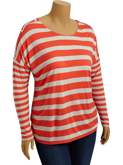 Old Navy Womens Plus Striped Drop Shoulder Tops