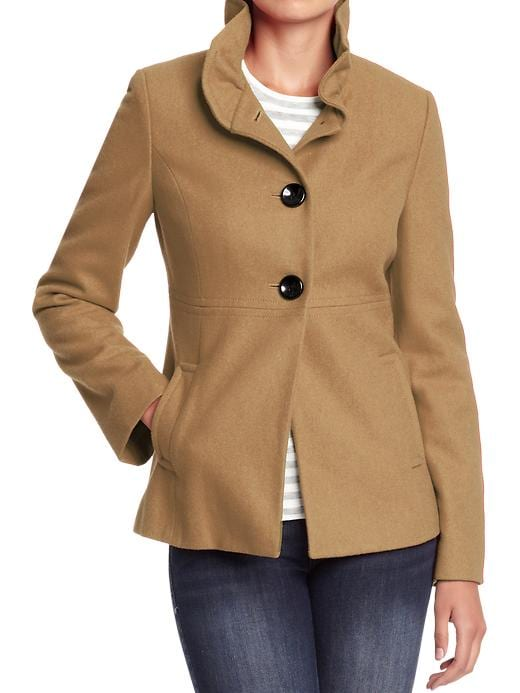 Old Navy Womens Ruffle Collar Wool Blend Coats