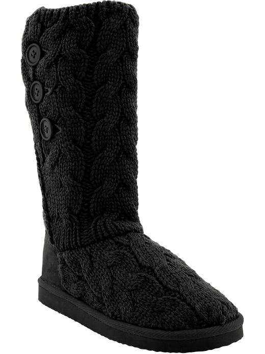 Old Navy Womens Buttoned Sweater Knit Boots