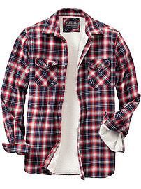 Men's Flannel Sherpa-Lined Shirt Jackets