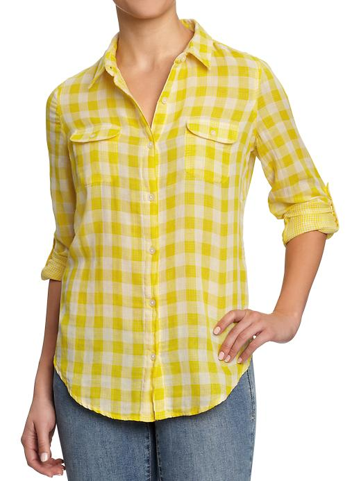 Old Navy Womens Plaid Double Weave Boyfriend Tunics