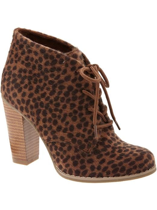Old Navy Womens Faux Animal Fur Ankle Boots