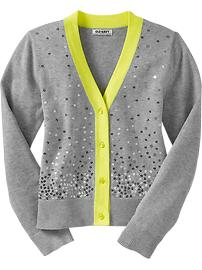 Girls Sequined Neon-Trim Cardis