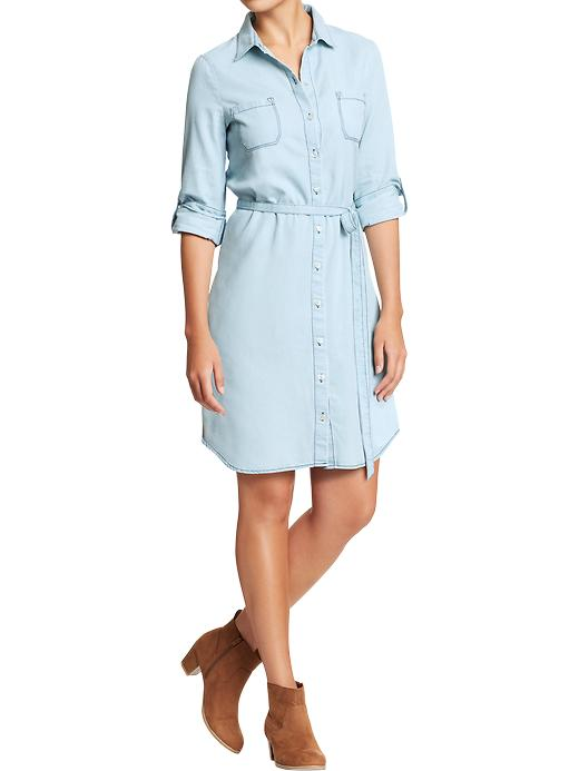 Old Navy Womens Chambray Belted Shirt Dresses