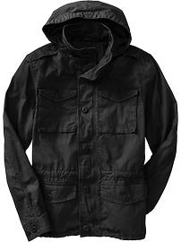 Men's Hooded Military-Style Canvas Jackets