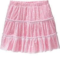 Girls Ruffle-Trim Eyelet Skirts