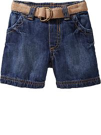 Canvas-Belted Denim Shorts for Baby