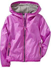 Girls Hooded Jersey-Lined Windbreakers